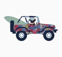 Preppy Jeep Black Lab Puppy - Beach Vacation One Piece - Long Sleeve