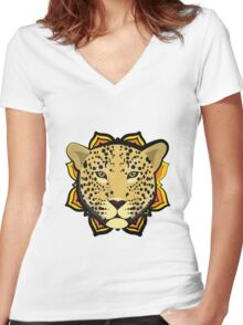 Retro Leopard Women's Fitted V-Neck T-Shirt