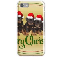 Vector Merry Christmas Rottweiler Puppies Greeting Card iPhone Case/Skin