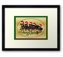 Vector Merry Christmas Rottweiler Puppies Greeting Card Framed Print