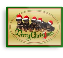 Vector Merry Christmas Rottweiler Puppies Greeting Card Metal Print
