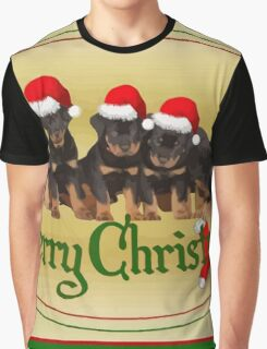 Vector Merry Christmas Rottweiler Puppies Greeting Card Graphic T-Shirt