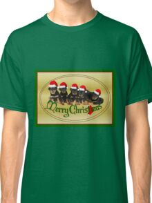 Vector Merry Christmas Rottweiler Puppies Greeting Card Classic T-Shirt