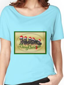 Vector Merry Christmas Rottweiler Puppies Greeting Card Women's Relaxed Fit T-Shirt