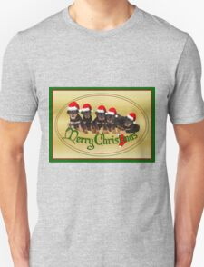 Vector Merry Christmas Rottweiler Puppies Greeting Card Unisex T-Shirt