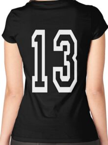 13, TEAM SPORTS, NUMBER 13, THIRTEEN, THIRTEENTH, ONE, THREE, Competition, Unlucky, Luck, WHITE Women's Fitted Scoop T-Shirt