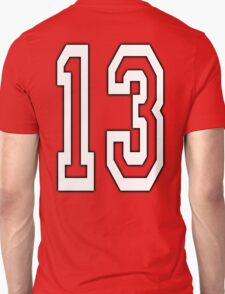 13, TEAM SPORTS, NUMBER 13, THIRTEEN, THIRTEENTH, ONE, THREE, Competition, Unlucky, Luck, WHITE T-Shirt