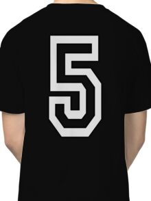 5, TEAM SPORTS, NUMBER 5, FIFTH, FIVE, Competition, WHITE Classic T-Shirt