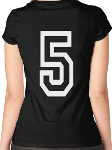 5, TEAM SPORTS, NUMBER 5, FIFTH, FIVE, Competition, WHITE Women's Fitted Scoop T-Shirt