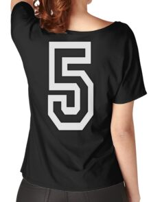 5, TEAM SPORTS, NUMBER 5, FIFTH, FIVE, Competition, WHITE Women's Relaxed Fit T-Shirt
