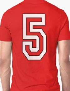 5, TEAM SPORTS, NUMBER 5, FIFTH, FIVE, Competition, WHITE T-Shirt