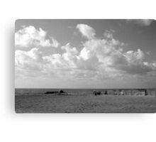 Ostia seafront: beach sea clouds Canvas Print