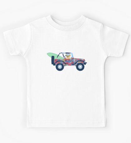 Preppy Jeep Golden Retriever Puppy - Beach Vacation Kids Tee
