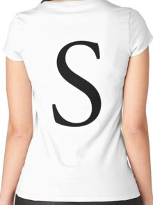 S, Alphabet Letter, Sophia, Sierra, Sugar, A to Z, 19th Letter of Alphabet, Initial, Name, Letters, Tag, Nick Name Women's Fitted Scoop T-Shirt