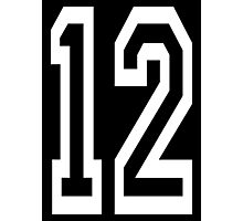 12, TEAM SPORTS, NUMBER 12, TWELVE, TWELFTH, Competition, WHITE Photographic Print