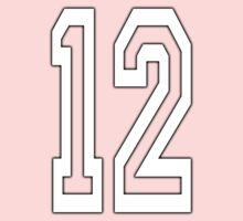 12, TEAM SPORTS, NUMBER 12, TWELVE, TWELFTH, Competition, WHITE One Piece - Long Sleeve