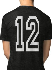 12, TEAM SPORTS, NUMBER 12, TWELVE, TWELFTH, Competition, WHITE Tri-blend T-Shirt