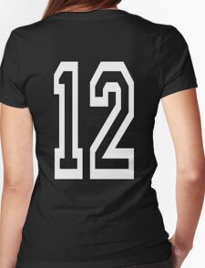 12, TEAM SPORTS, NUMBER 12, TWELVE, TWELFTH, Competition, WHITE Womens Fitted T-Shirt