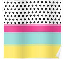 Hipster Polka Dots and Color Blocks Poster