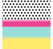 Hipster Polka Dots and Color Blocks Photographic Print