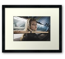 Bad, Beautiful and sexy blonde with a baseball bat Framed Print