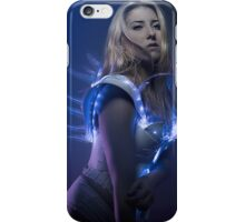 blonde girl with white robot suit and blue LED lights iPhone Case/Skin