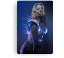 blonde girl with white robot suit and blue LED lights Canvas Print