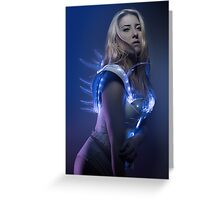blonde girl with white robot suit and blue LED lights Greeting Card