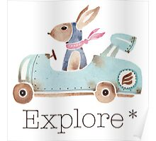 Motor bunny in watercolor Poster