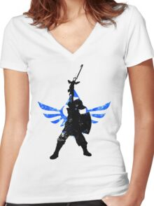 Skyward Stance - Blue Women's Fitted V-Neck T-Shirt