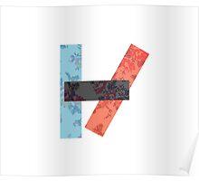 Twenty One Pilots Symbol Floral Print Poster