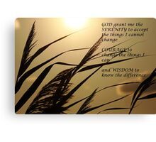 Serenity Prayer With Sunset Grass Canvas Print