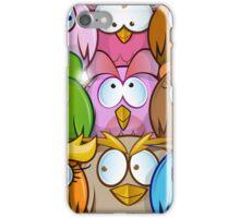 funny owl cartoon background iPhone Case/Skin
