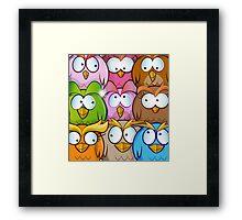 funny owl cartoon background Framed Print