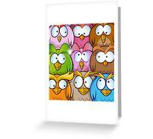 funny owl cartoon background Greeting Card