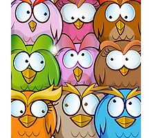 funny owl cartoon background Photographic Print