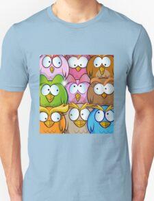 funny owl cartoon background Unisex T-Shirt