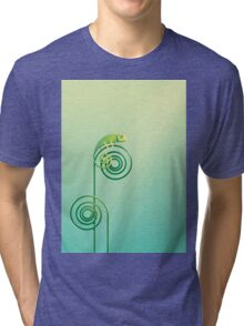 Chamouflaged green Chameleon lizard Tri-blend T-Shirt