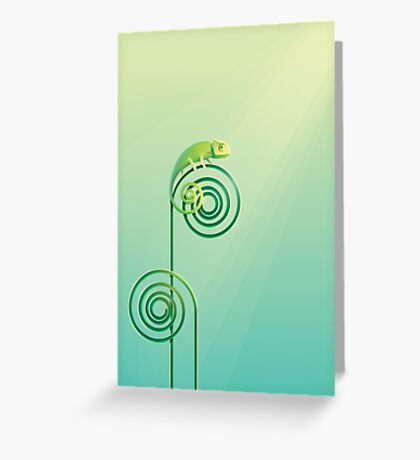 Chamouflaged green Chameleon lizard Greeting Card