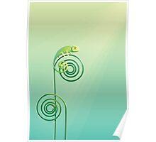 Chamouflaged green Chameleon lizard Poster