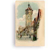Aquarelle watercolor Rothenburg ob der Tauber Canvas Print