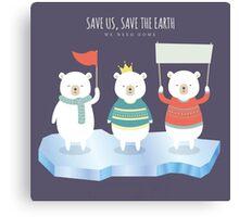 Save earth polar bears Canvas Print