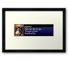 """Peppy - """"Never give up. Trust your instincts."""" Framed Print"""