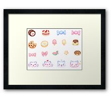 Pastel Set 3 - Sweets and cats Framed Print