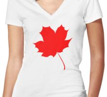Maple red leaf Women's Fitted V-Neck T-Shirt