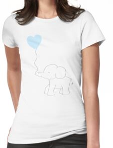 Elephant Love (Blue) Womens Fitted T-Shirt