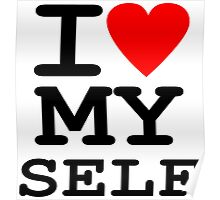 Parody, satire, humour, I heart MY self Poster