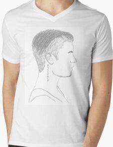 Justin Bieber Profile Mens V-Neck T-Shirt