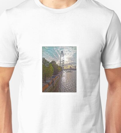 Looking along the South Bank towards the London Eye, by Tim Constable Unisex T-Shirt
