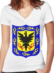 The coat of arms of Bogota, Colombia. Women's Fitted V-Neck T-Shirt